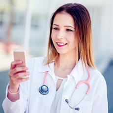 Nurse on cell phone