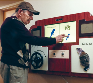 The tool is reiminiscent of an oldfashioned radio or TV to help residents feel comfortable using it.