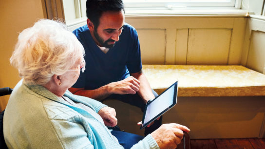 Helping senior with technology