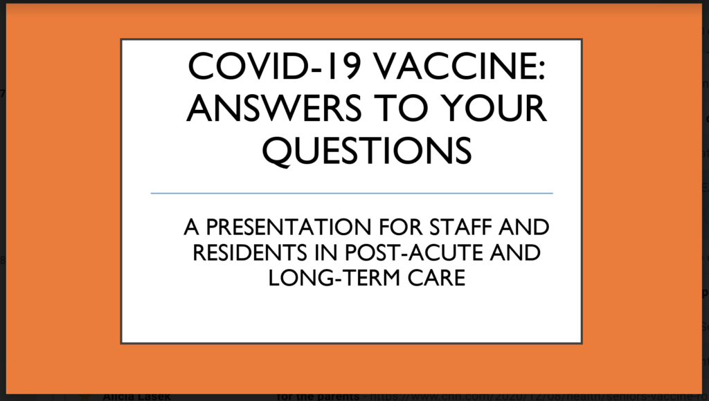Image of first slide in AMDA COVID vaccine powerpoint, 12-8-2020