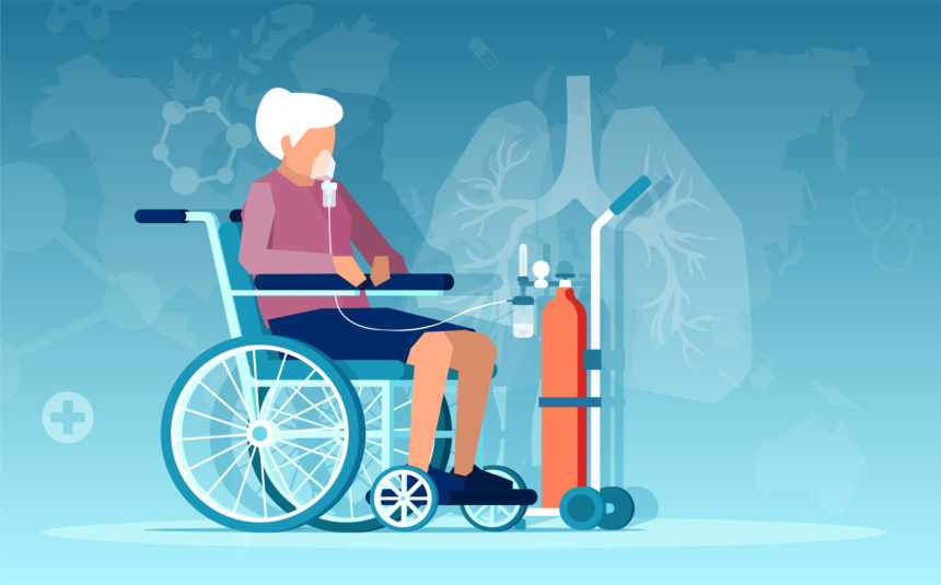 Representation of a woman in a wheelchair using supplemental oxygen from an oxygen tank